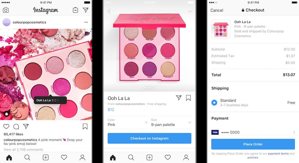 Paiement intégré sur Facebook, Instagram et Google